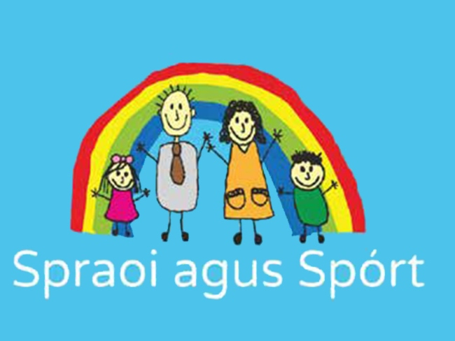 Colourful logo showing a happy family in front of a rainbow.