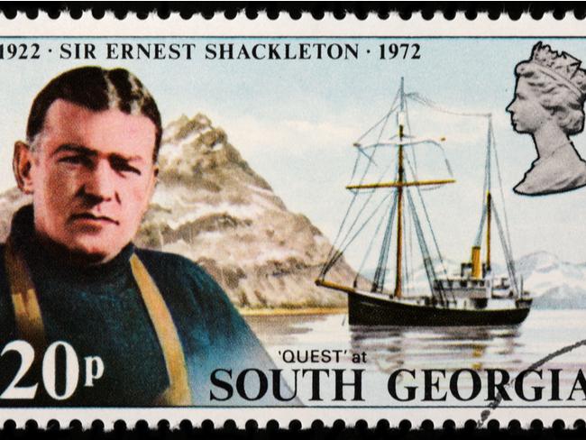 Ernest Shackleton the explorer on a postage stamp.