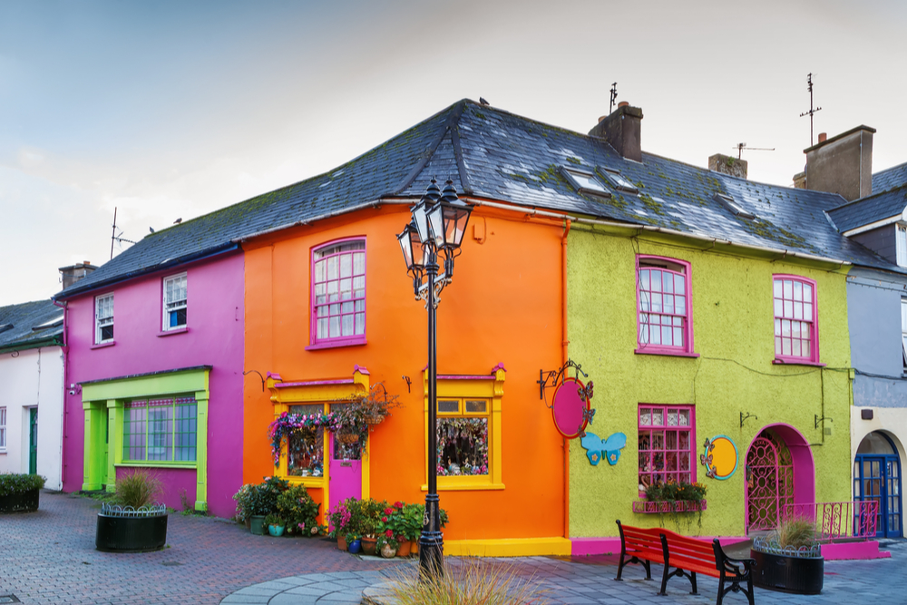 Colourful shops on a street in Ireland.