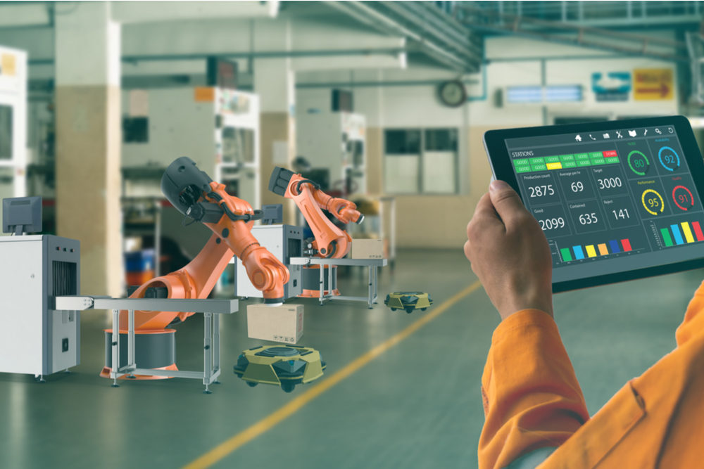 Smart factory in action using wireless technologies.