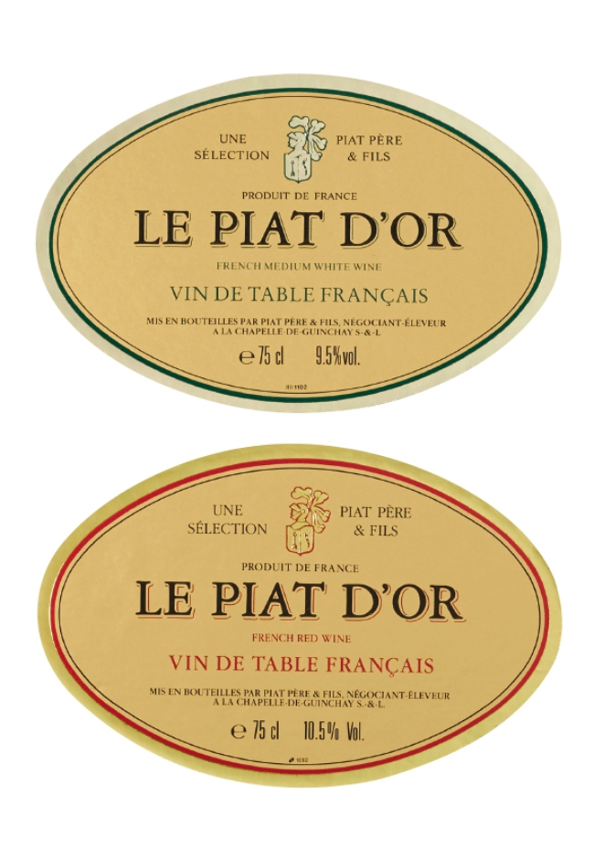 Labels for Piat D'Or.