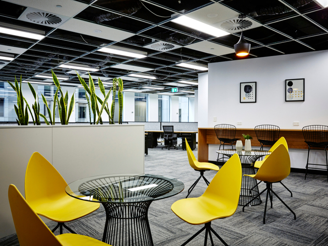 Modern office with yellow chairs.