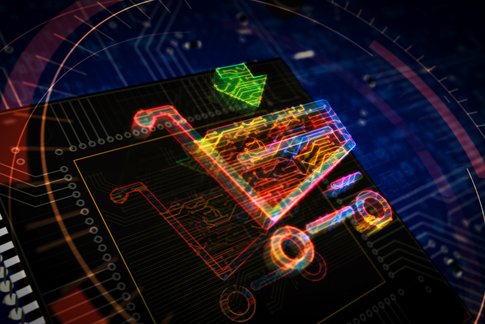 Shopping cart symbol futuristic 3D rendered illustration.