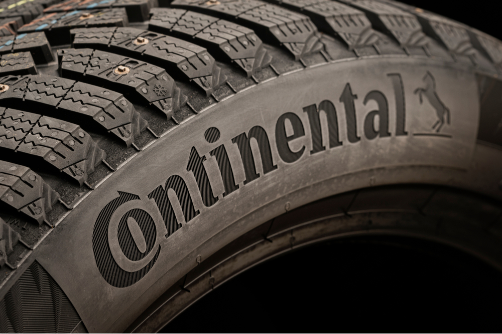 Close up of a new Continental tyre.