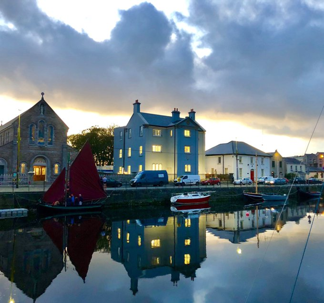 Buildings and boats in Galway city.