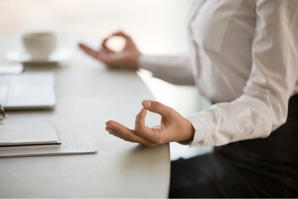 Office meditation for reducing work stress relief.