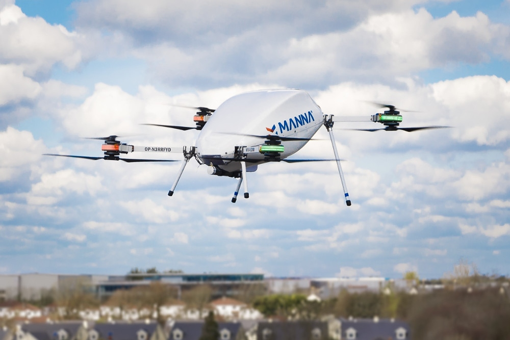 Delivery drone flying in Ireland.