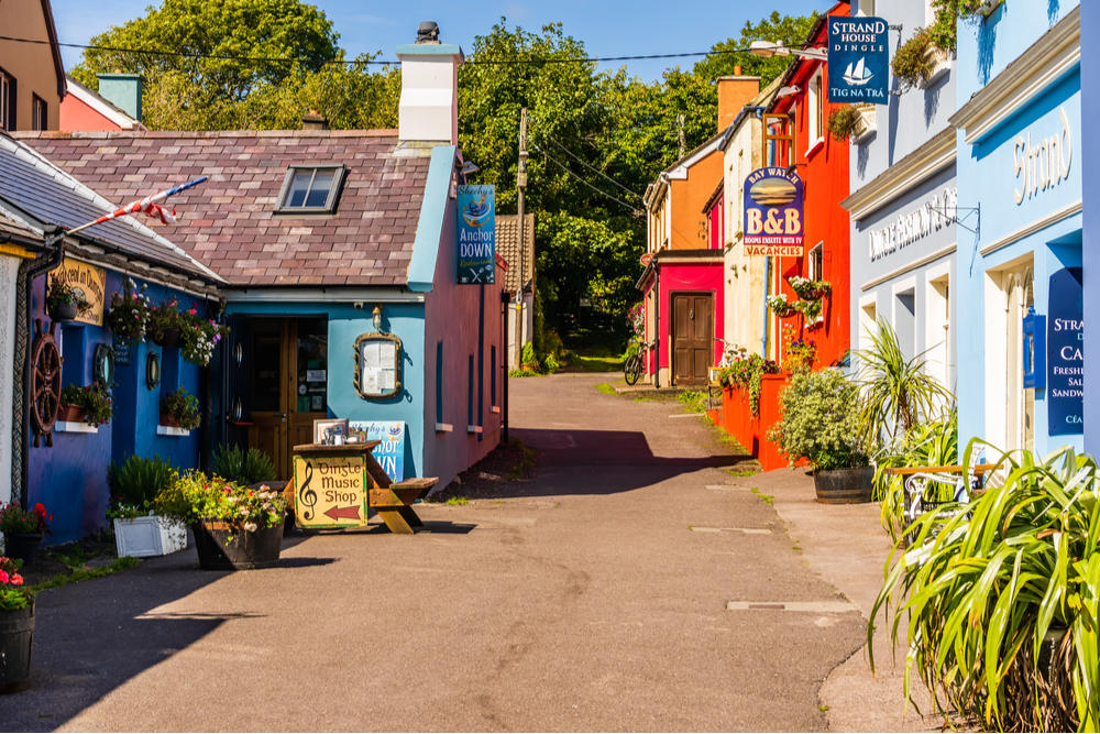 Colourful buildings, pubs, shops and restaurants around the coastal city of Dingle in County Kerry.