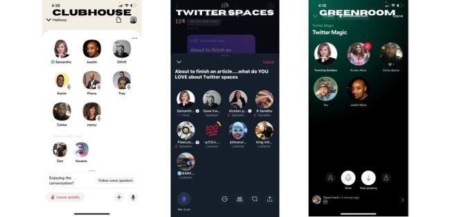 screen grabs of various social audio apps.