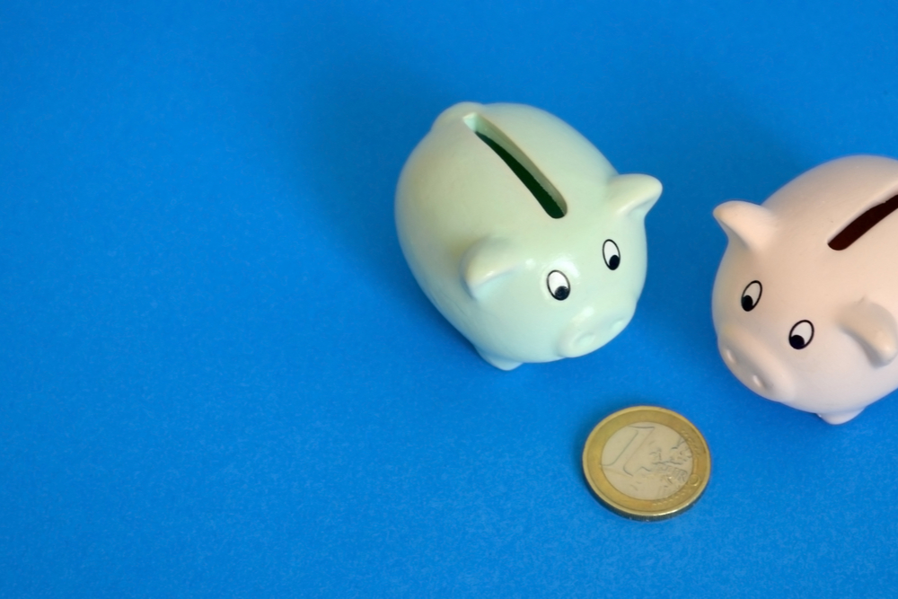 Piggy banks looking at same euro coin.