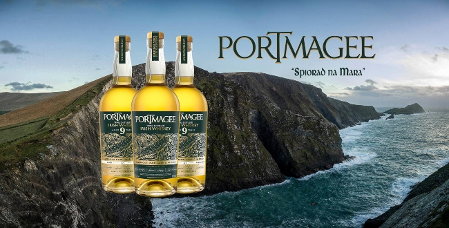 Bottles and logo for Portmagee Whiskey.