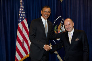 President Obama greets Baybar Altuntas of Turkey at the Presidential Summit on Entrepreneurship. President Obama announced in his speech that Prime Minister Erdogan and Turkey will host the next Entrepreneurship Summit in 2011. (Official White House Photo by Pete Souza)