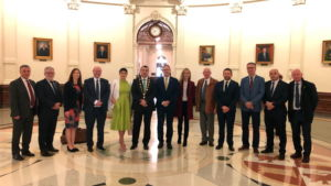 Pat Fitzgerald, Limerick Council; Paschal Meehan, LIT; Caroline Kelleher, Shannon Group; Dr Pat Daly, Limerick Council; Eileen Collins, Mayoress; Cllr James Collins, Mayor of Limerick; Conn Murray, CEO, Limerick Council; Gerard Boland, LEDP; Pat Carroll, Bank of Ireland; Liam McElligott, CEO, LEDP; and Dee Ryan, CEO, Limerick Chamber of Commerce. (at the Texas Capitol Building)