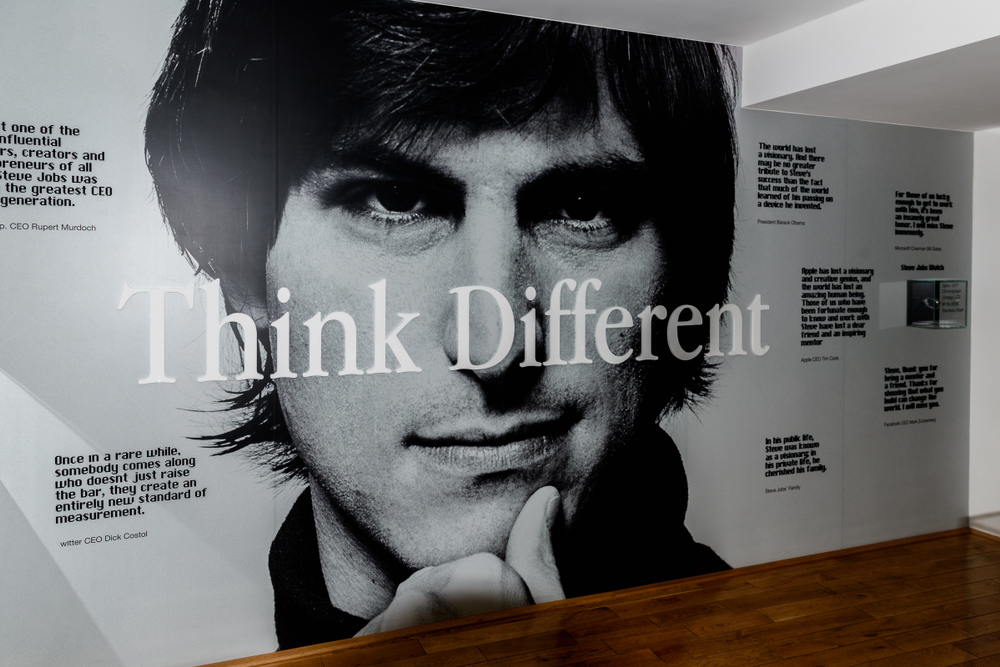 Picture of a young Steve Jobs with the words 'think different' in front