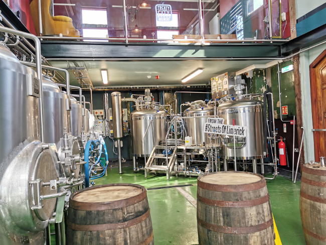 Inside a brewery.