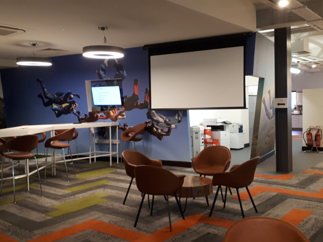 Inside view of a modern office and collaborative workspace.