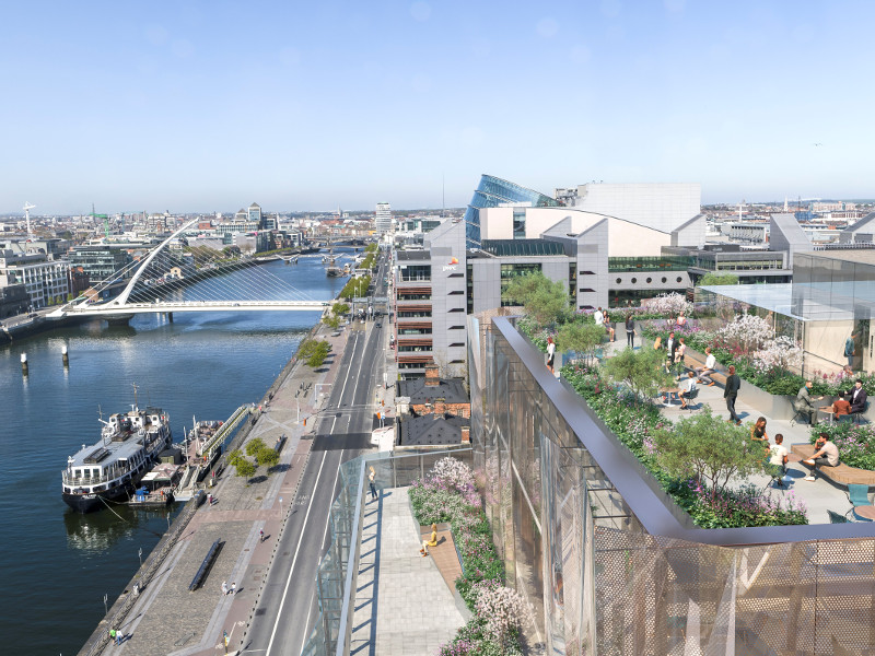 View of a new building alongside River Liffey.
